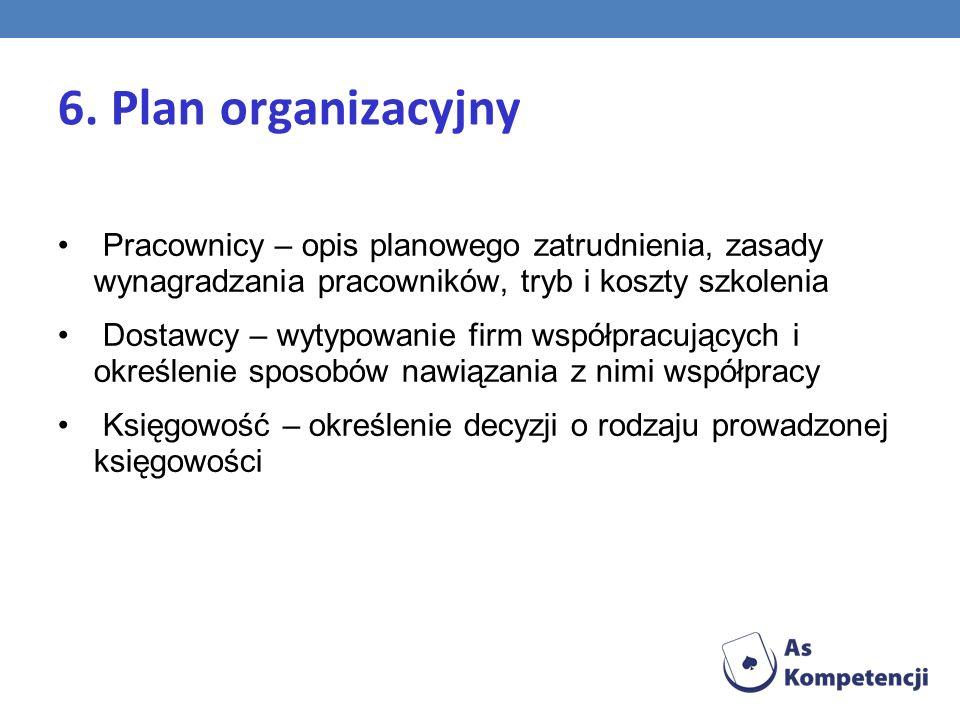 6. Plan organizacyjny Pracownicy – opis planowego zatrudnienia, zasady wynagradzania pracowników, tryb i koszty szkolenia Dostawcy – wytypowanie firm