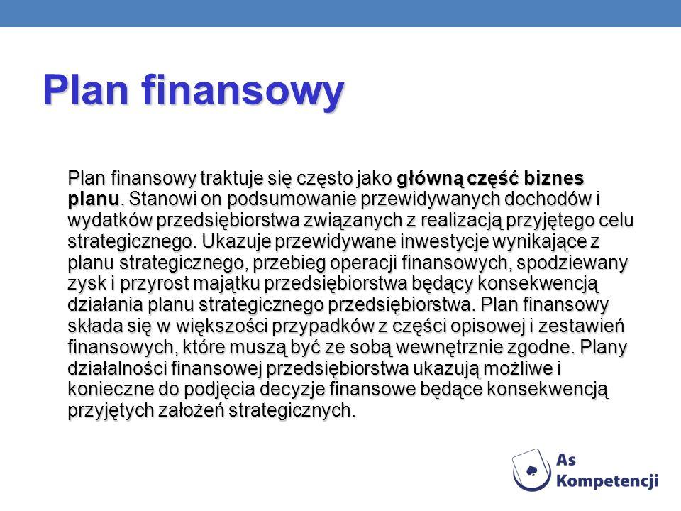 Plan finansowy traktuje się często jako główną część biznes planu.
