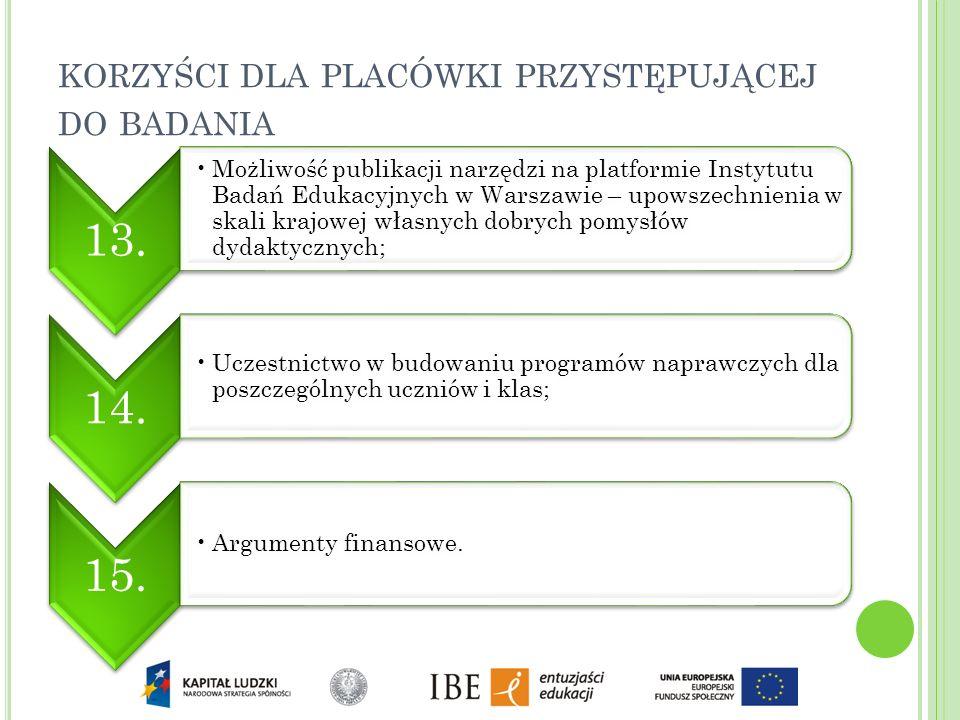 13. Możliwość publikacji narzędzi na platformie Instytutu Badań Edukacyjnych w Warszawie – upowszechnienia w skali krajowej własnych dobrych pomysłów