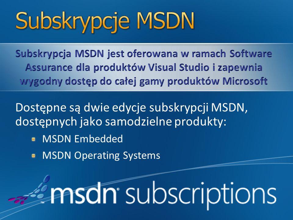 Dostępne są dwie edycje subskrypcji MSDN, dostępnych jako samodzielne produkty: MSDN Embedded MSDN Operating Systems