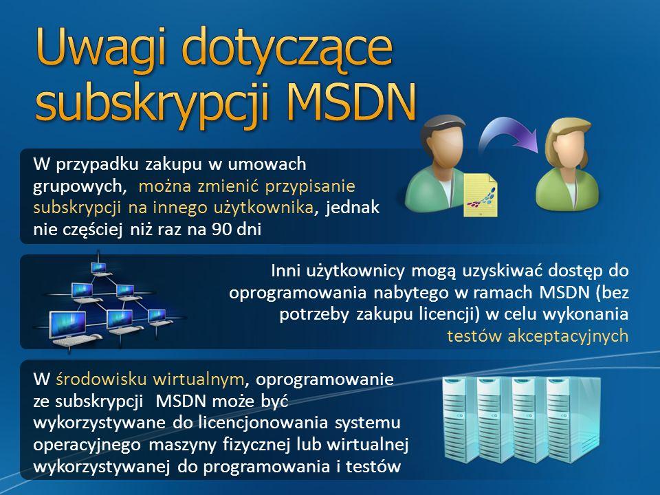 W przypadku zakupu w umowach grupowych, można zmienić przypisanie subskrypcji na innego użytkownika, jednak nie częściej niż raz na 90 dni Inni użytkownicy mogą uzyskiwać dostęp do oprogramowania nabytego w ramach MSDN (bez potrzeby zakupu licencji) w celu wykonania testów akceptacyjnych W środowisku wirtualnym, oprogramowanie ze subskrypcji MSDN może być wykorzystywane do licencjonowania systemu operacyjnego maszyny fizycznej lub wirtualnej wykorzystywanej do programowania i testów
