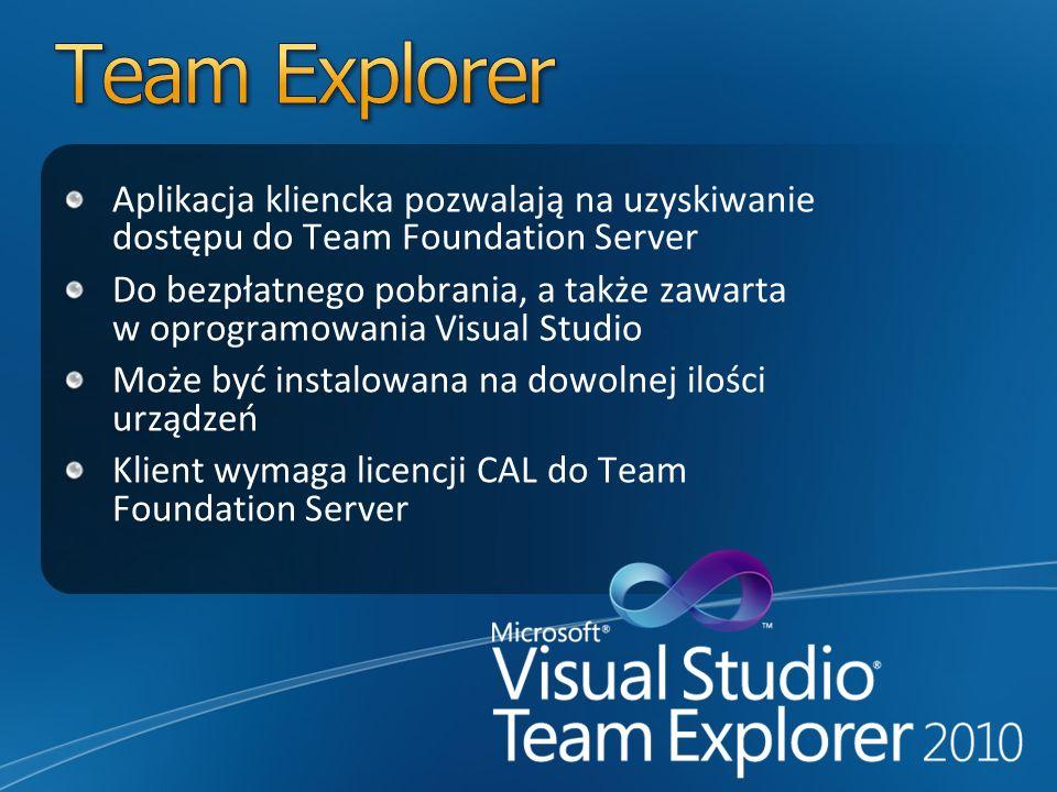 Aplikacja kliencka pozwalają na uzyskiwanie dostępu do Team Foundation Server Do bezpłatnego pobrania, a także zawarta w oprogramowania Visual Studio Może być instalowana na dowolnej ilości urządzeń Klient wymaga licencji CAL do Team Foundation Server