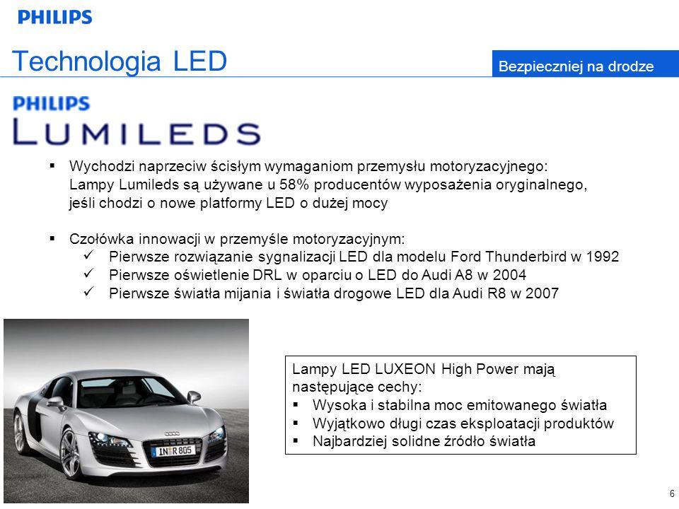 Technologia LED Bezpieczniej na drodze Wychodzi naprzeciw ścisłym wymaganiom przemysłu motoryzacyjnego: Lampy Lumileds są używane u 58% producentów wyposażenia oryginalnego, jeśli chodzi o nowe platformy LED o dużej mocy Czołówka innowacji w przemyśle motoryzacyjnym: Pierwsze rozwiązanie sygnalizacji LED dla modelu Ford Thunderbird w 1992 Pierwsze oświetlenie DRL w oparciu o LED do Audi A8 w 2004 Pierwsze światła mijania i światła drogowe LED dla Audi R8 w 2007 Lampy LED LUXEON High Power mają następujące cechy: Wysoka i stabilna moc emitowanego światła Wyjątkowo długi czas eksploatacji produktów Najbardziej solidne źródło światła 6