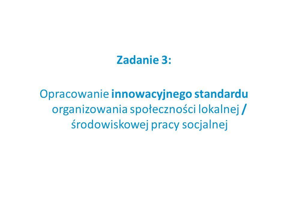 Zadanie 3: Opracowanie innowacyjnego standardu organizowania społeczności lokalnej / środowiskowej pracy socjalnej