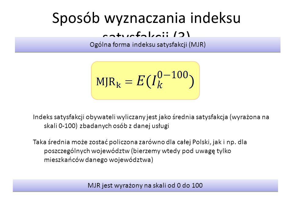 Sposób wyznaczania indeksu satysfakcji (3) Ogólna forma indeksu satysfakcji (MJR) MJR jest wyrażony na skali od 0 do 100 Indeks satysfakcji obywateli