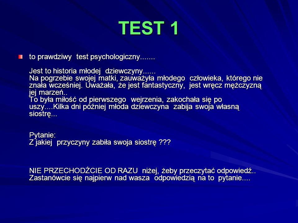 TEST 1 to prawdziwy test psychologiczny....... Jest to historia młodej dziewczyny...... Na pogrzebie swojej matki, zauważyła młodego człowieka, któreg