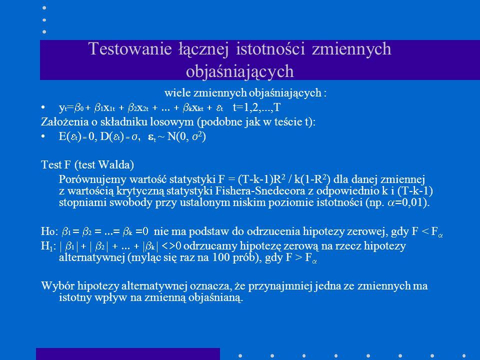 Testowanie łącznej istotności zmiennych objaśniających wiele zmiennych objaśniających : y t = 0 1 x 1t 2 x 2t k x kt t t=1,2,...,T Założenia o składni