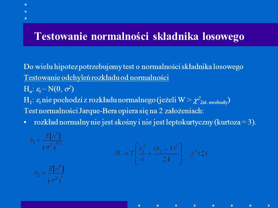 czyli test mnożnika Lagrangea Do opisu kwadratu reszt MNK w regresji pomocniczej test B-P wykorzystuje zmienne objaśniające z oryginalnego modelu, a test Whitea dodatkowo wykorzystuje kwadraty i iloczyny zmiennych x.