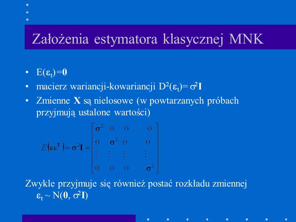 Założenia estymatora klasycznej MNK E( t ) =0 macierz wariancji-kowariancji D 2 ( t )= 2 I Zmienne X są nielosowe (w powtarzanych próbach przyjmują us