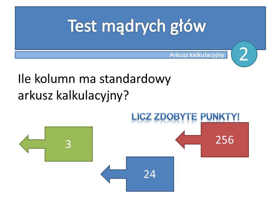 Ile kolumn ma standardowy arkusz kalkulacyjny? 3 24 256 Arkusz kalkulacyjny 2