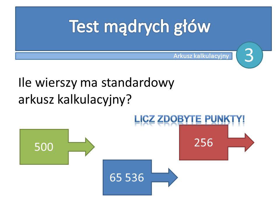 Ile wierszy ma standardowy arkusz kalkulacyjny? 500 65 536 256 Arkusz kalkulacyjny 3