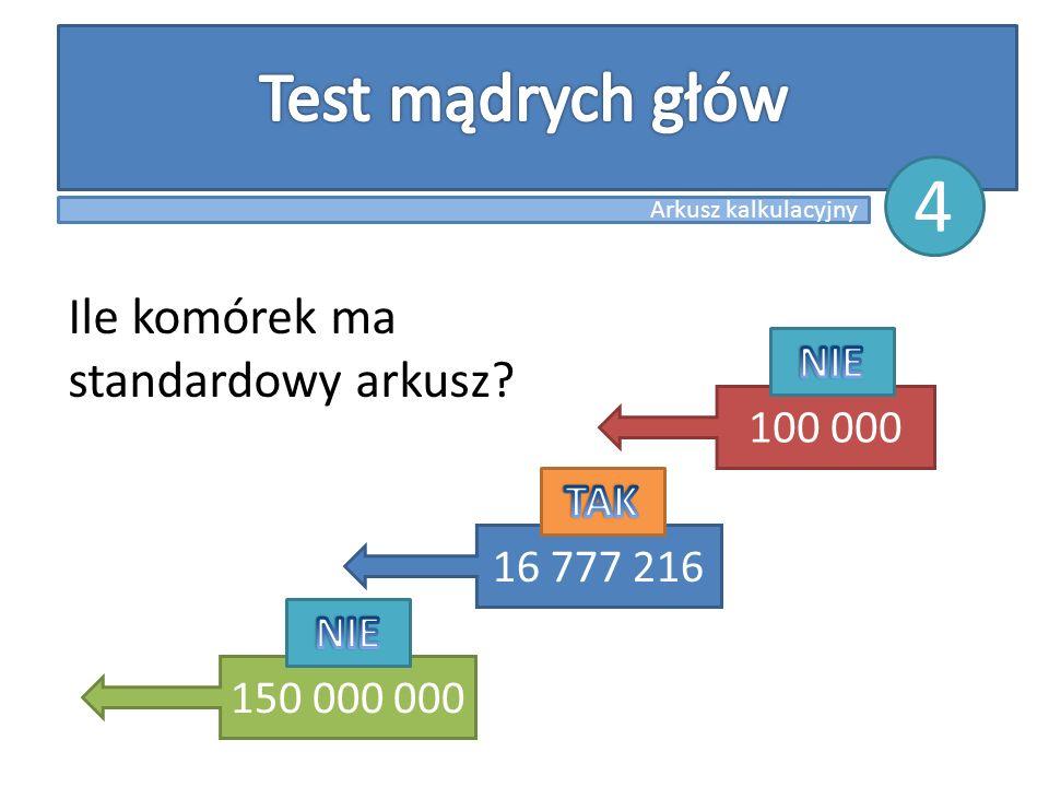 Ile komórek ma standardowy arkusz? 150 000 000 16 777 216 100 000 Arkusz kalkulacyjny 4