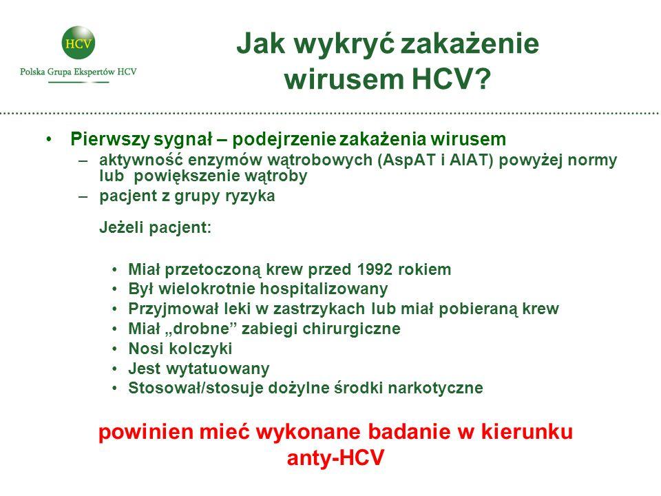 Jak wykryć zakażenie wirusem HCV? Pierwszy sygnał – podejrzenie zakażenia wirusem –aktywność enzymów wątrobowych (AspAT i AlAT) powyżej normy lub powi