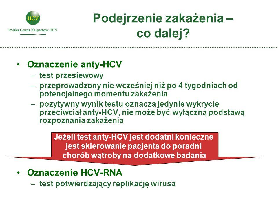 Podejrzenie zakażenia – co dalej? Oznaczenie anty-HCV –test przesiewowy –przeprowadzony nie wcześniej niż po 4 tygodniach od potencjalnego momentu zak