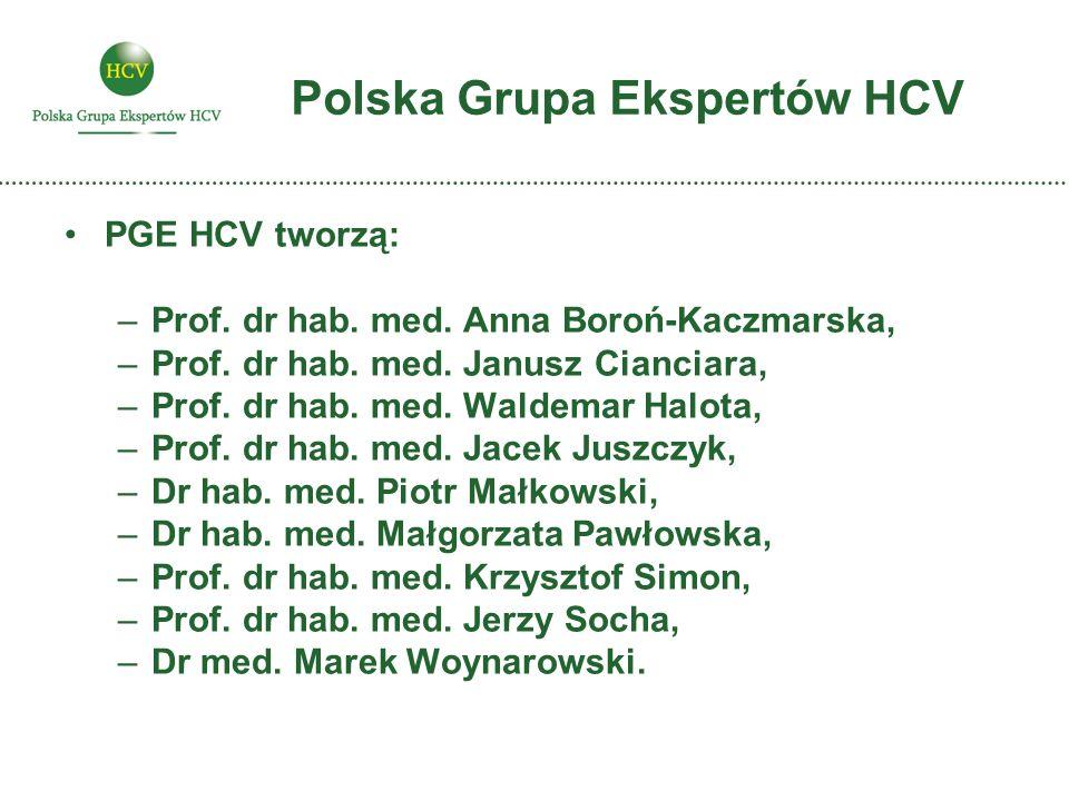 Polska Grupa Ekspertów HCV PGE HCV tworzą: –Prof. dr hab. med. Anna Boroń-Kaczmarska, –Prof. dr hab. med. Janusz Cianciara, –Prof. dr hab. med. Waldem