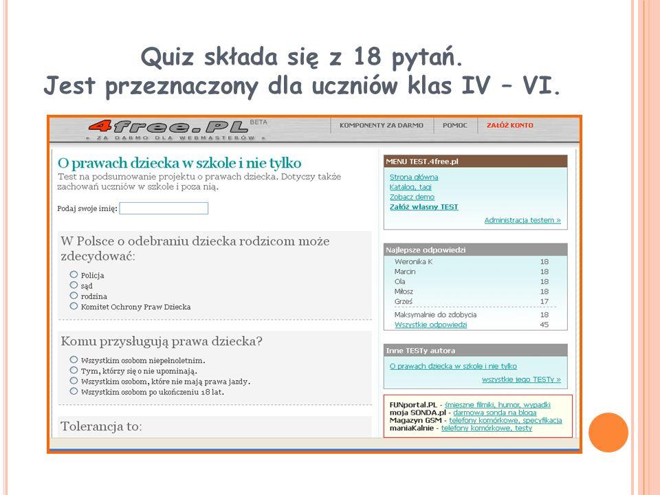 Quiz składa się z 18 pytań. Jest przeznaczony dla uczniów klas IV – VI.