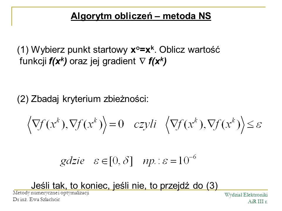 Wydział Elektroniki AiR III r. Metody numeryczne i optymalizacji Dr inż. Ewa Szlachcic Algorytm obliczeń – metoda NS (1)Wybierz punkt startowy x o =x