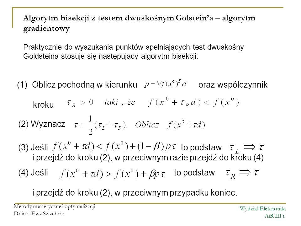 Wydział Elektroniki AiR III r. Metody numeryczne i optymalizacji Dr inż. Ewa Szlachcic Algorytm bisekcji z testem dwuskośnym Golsteina – algorytm grad