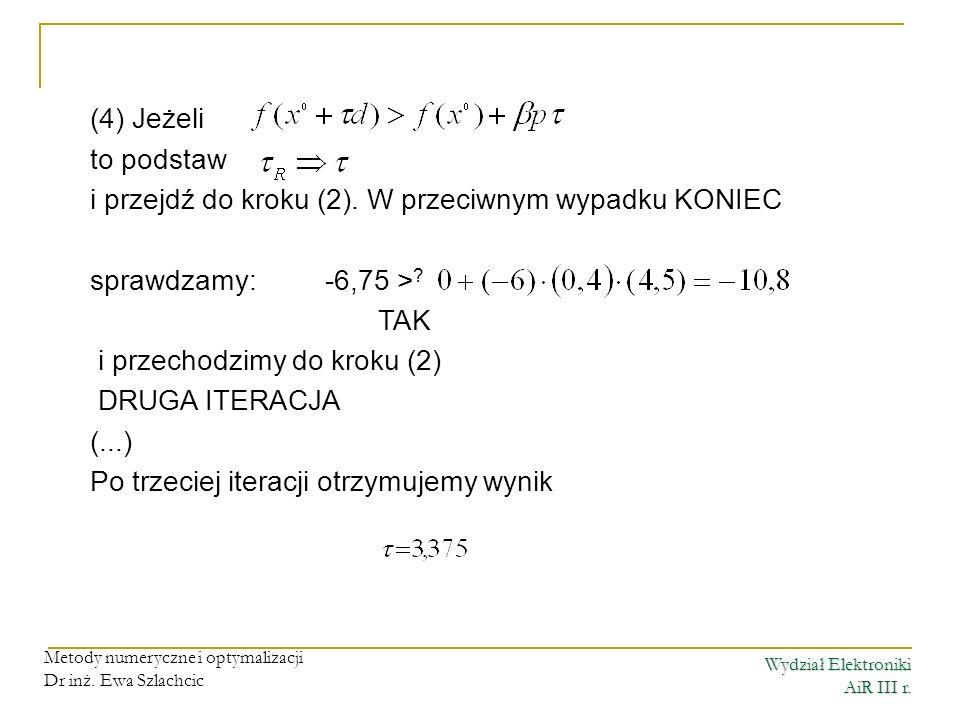 Wydział Elektroniki AiR III r. Metody numeryczne i optymalizacji Dr inż. Ewa Szlachcic (4) Jeżeli to podstaw i przejdź do kroku (2). W przeciwnym wypa