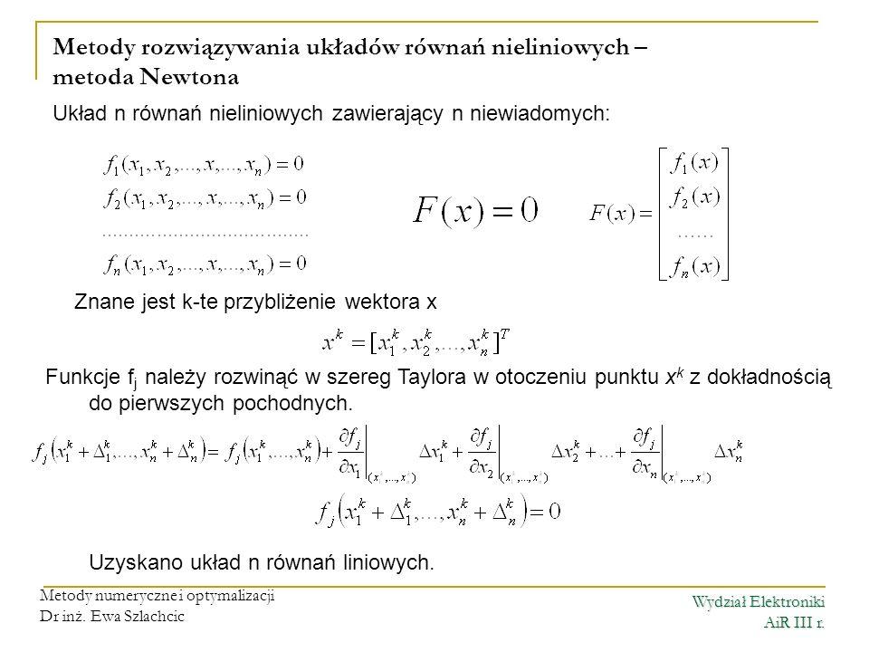 Wydział Elektroniki AiR III r. Metody numeryczne i optymalizacji Dr inż. Ewa Szlachcic Metody rozwiązywania układów równań nieliniowych – metoda Newto