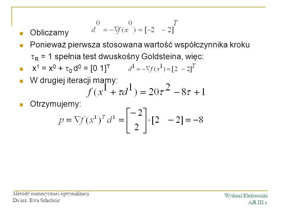 Wydział Elektroniki AiR III r. Metody numeryczne i optymalizacji Dr inż. Ewa Szlachcic Obliczamy Ponieważ pierwsza stosowana wartość współczynnika kro