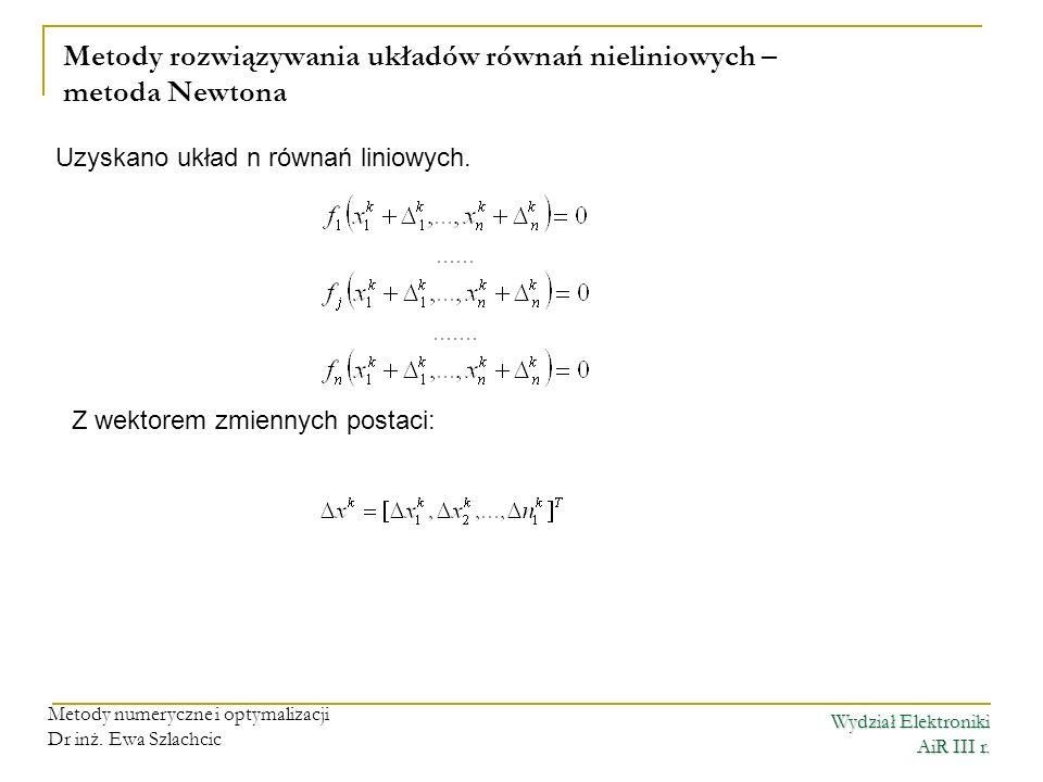 Wydział Elektroniki AiR III r.Metody numeryczne i optymalizacji Dr inż.