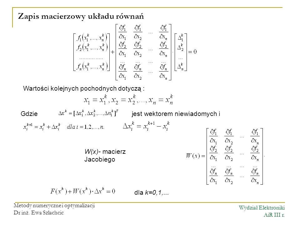 Wydział Elektroniki AiR III r. Metody numeryczne i optymalizacji Dr inż. Ewa Szlachcic Zapis macierzowy układu równań Wartości kolejnych pochodnych do