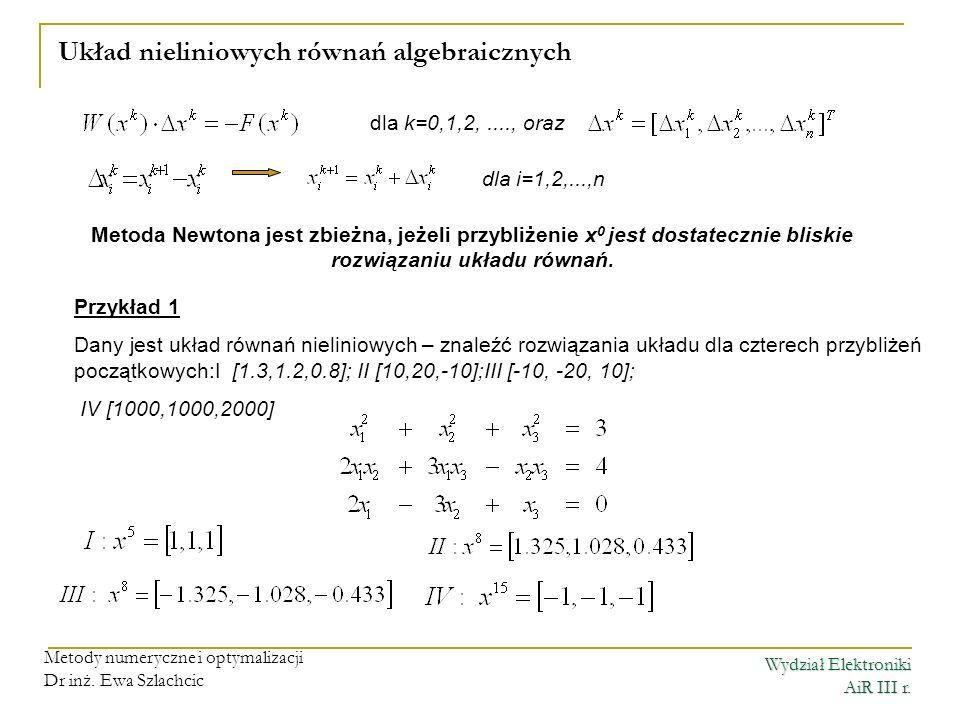 Wydział Elektroniki AiR III r. Metody numeryczne i optymalizacji Dr inż. Ewa Szlachcic Układ nieliniowych równań algebraicznych dla k=0,1,2,...., oraz