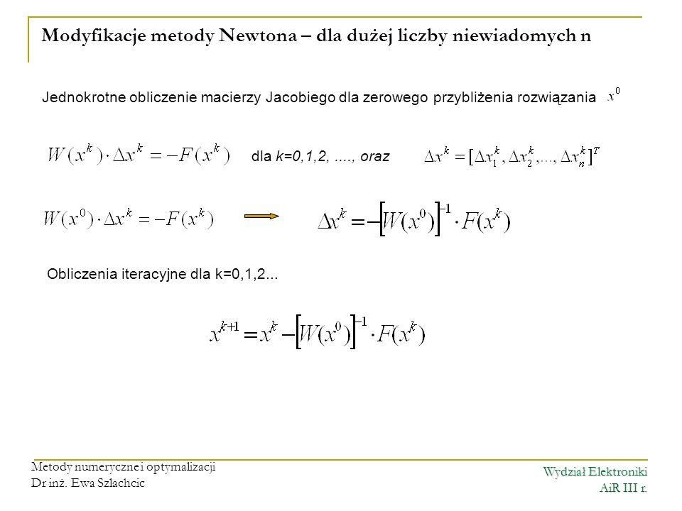 Wydział Elektroniki AiR III r. Metody numeryczne i optymalizacji Dr inż. Ewa Szlachcic Modyfikacje metody Newtona – dla dużej liczby niewiadomych n dl