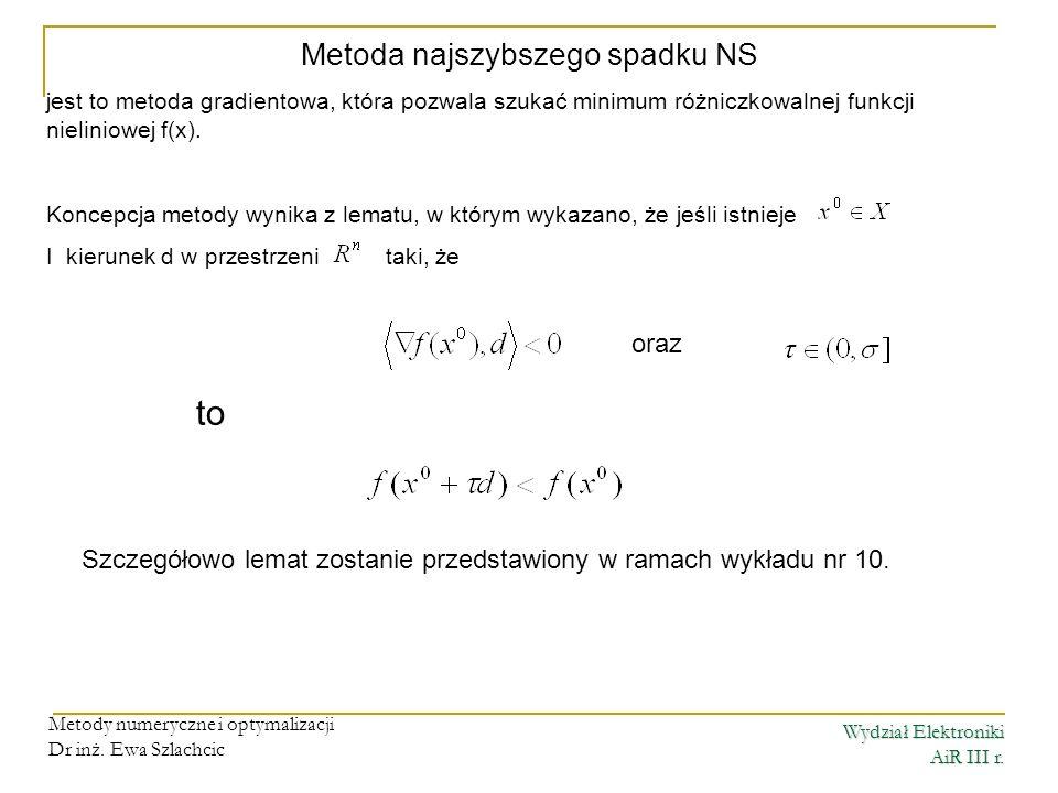 Wydział Elektroniki AiR III r. Metody numeryczne i optymalizacji Dr inż. Ewa Szlachcic Metoda najszybszego spadku NS jest to metoda gradientowa, która