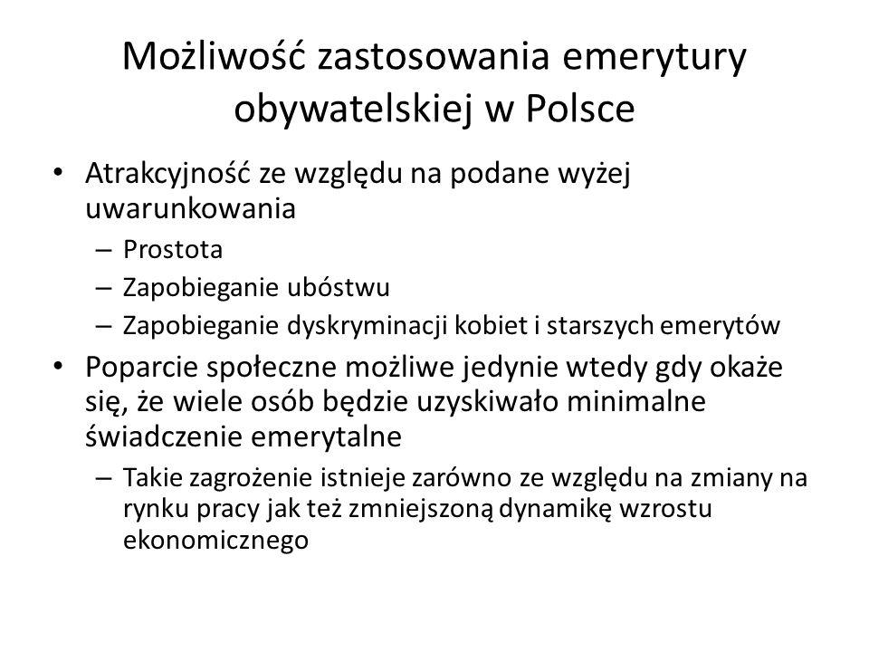 Możliwość zastosowania emerytury obywatelskiej w Polsce Atrakcyjność ze względu na podane wyżej uwarunkowania – Prostota – Zapobieganie ubóstwu – Zapobieganie dyskryminacji kobiet i starszych emerytów Poparcie społeczne możliwe jedynie wtedy gdy okaże się, że wiele osób będzie uzyskiwało minimalne świadczenie emerytalne – Takie zagrożenie istnieje zarówno ze względu na zmiany na rynku pracy jak też zmniejszoną dynamikę wzrostu ekonomicznego