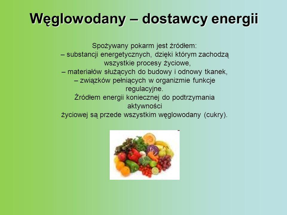 Węglowodany – dostawcy energii Spożywany pokarm jest źródłem: – substancji energetycznych, dzięki którym zachodzą wszystkie procesy życiowe, – materia