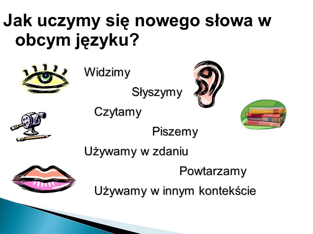 Jak uczymy się nowego słowa w obcym języku?: Widzimy Słyszymy Słyszymy Czytamy Czytamy Piszemy Piszemy Używamy w zdaniu Powtarzamy Powtarzamy Używamy w innym kontekście Używamy w innym kontekście