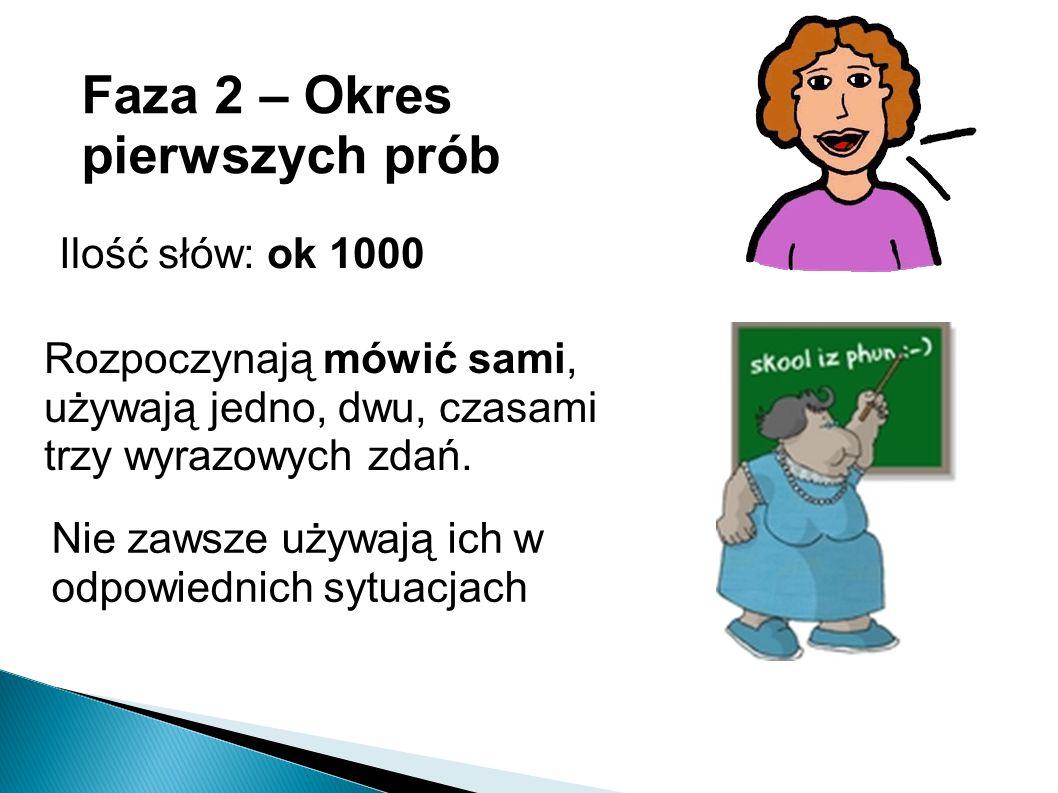 Faza 2 – Okres pierwszych prób Ilość słów: ok 1000 Rozpoczynają mówić sami, używają jedno, dwu, czasami trzy wyrazowych zdań.