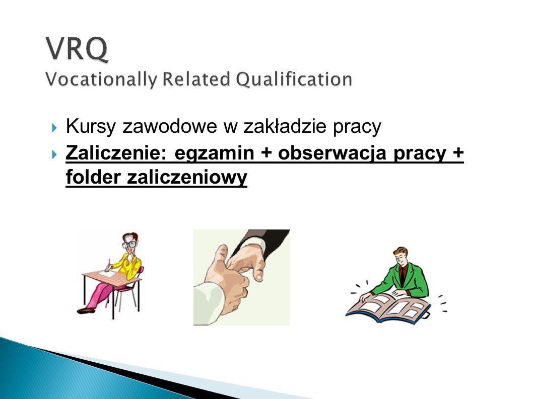 Kursy zawodowe w zakładzie pracy Zaliczenie: egzamin + obserwacja pracy + folder zaliczeniowy