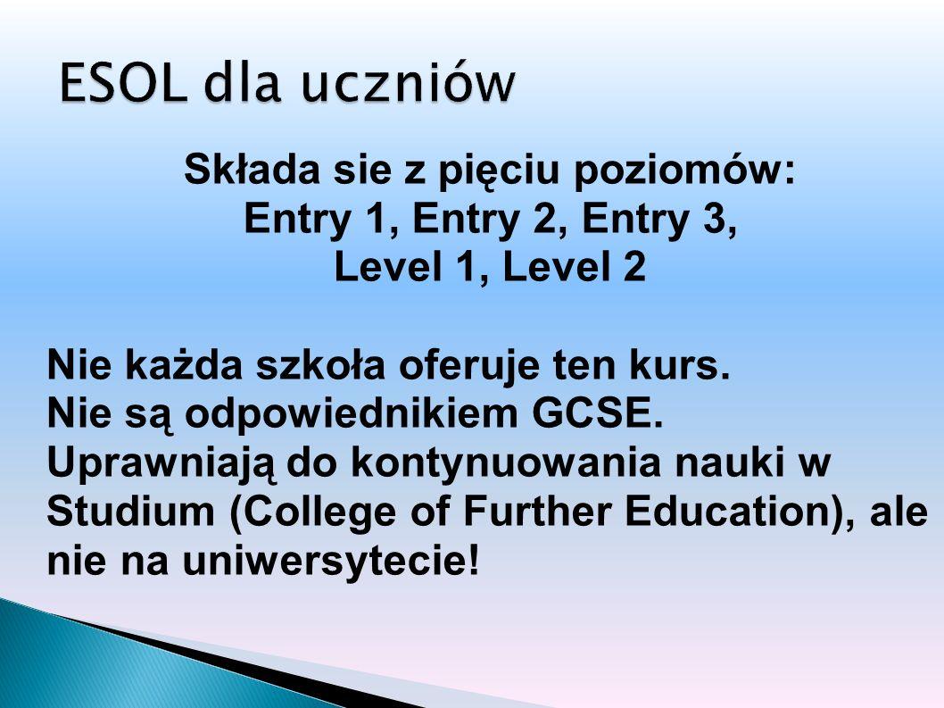Składa sie z pięciu poziomów: Entry 1, Entry 2, Entry 3, Level 1, Level 2 Nie każda szkoła oferuje ten kurs.