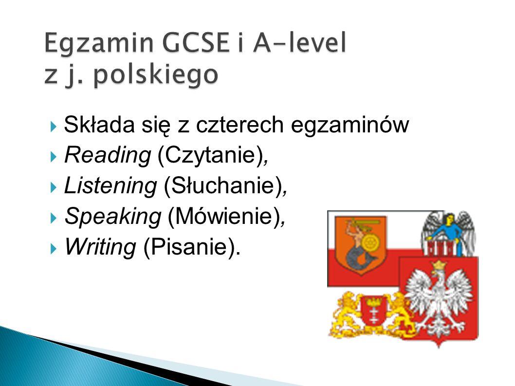 Składa się z czterech egzaminów Reading (Czytanie), Listening (Słuchanie), Speaking (Mówienie), Writing (Pisanie).