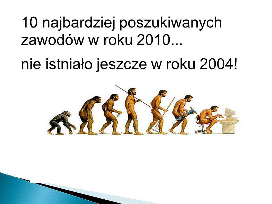 10 najbardziej poszukiwanych zawodów w roku 2010... nie istniało jeszcze w roku 2004!
