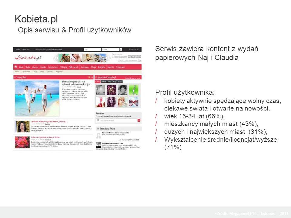 Źródło Megapanel PBI – listopad 2011 Serwis zawiera kontent z wydań papierowych Naj i Claudia Profil użytkownika: /kobiety aktywnie spędzające wolny c
