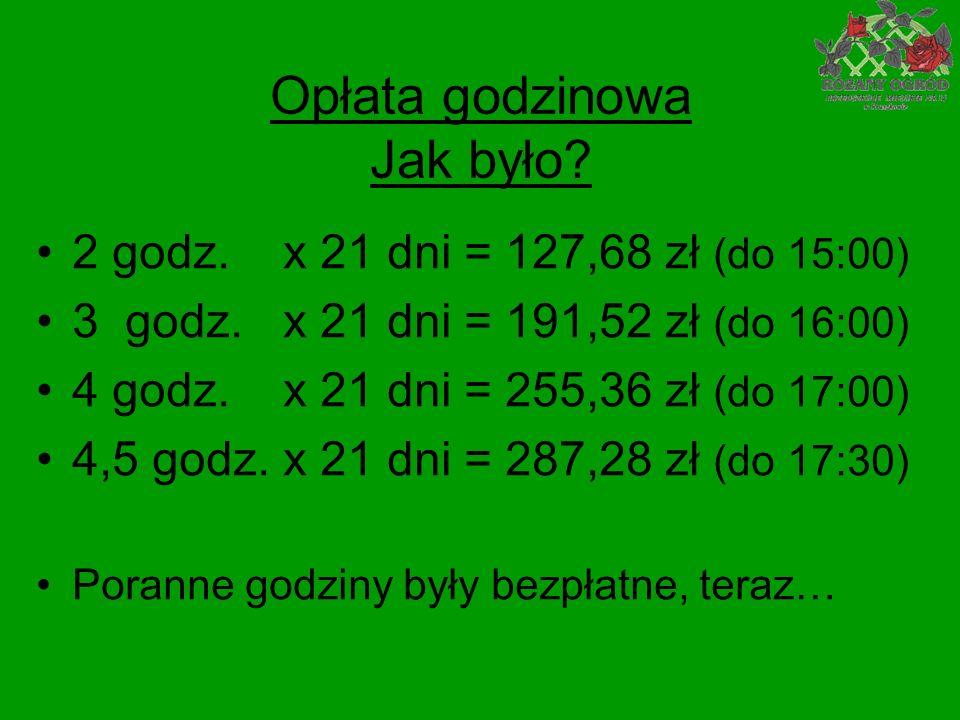 Opłata godzinowa Jak było. 2 godz. x 21 dni = 127,68 zł (do 15:00) 3 godz.