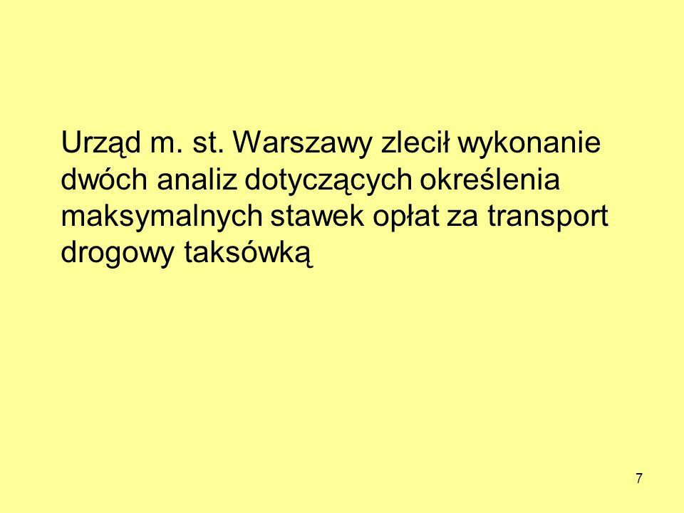 7 Urząd m. st. Warszawy zlecił wykonanie dwóch analiz dotyczących określenia maksymalnych stawek opłat za transport drogowy taksówką
