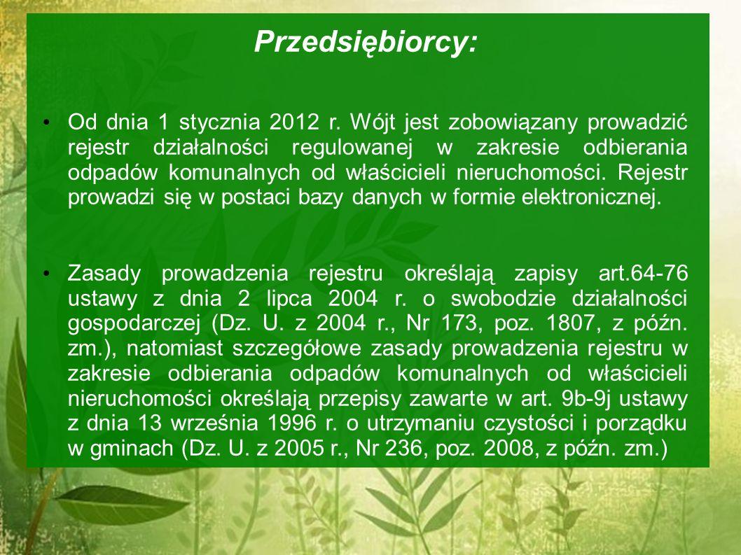 Przedsiębiorcy: Od dnia 1 stycznia 2012 r. Wójt jest zobowiązany prowadzić rejestr działalności regulowanej w zakresie odbierania odpadów komunalnych
