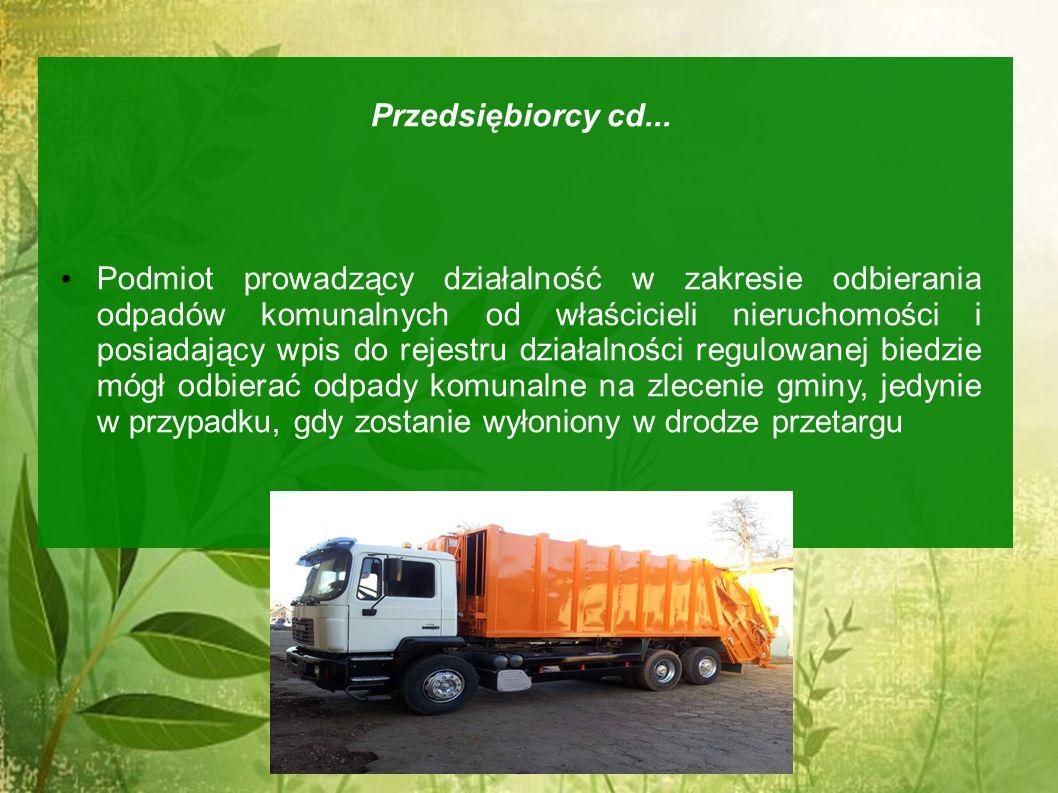 Przedsiębiorcy cd... Podmiot prowadzący działalność w zakresie odbierania odpadów komunalnych od właścicieli nieruchomości i posiadający wpis do rejes