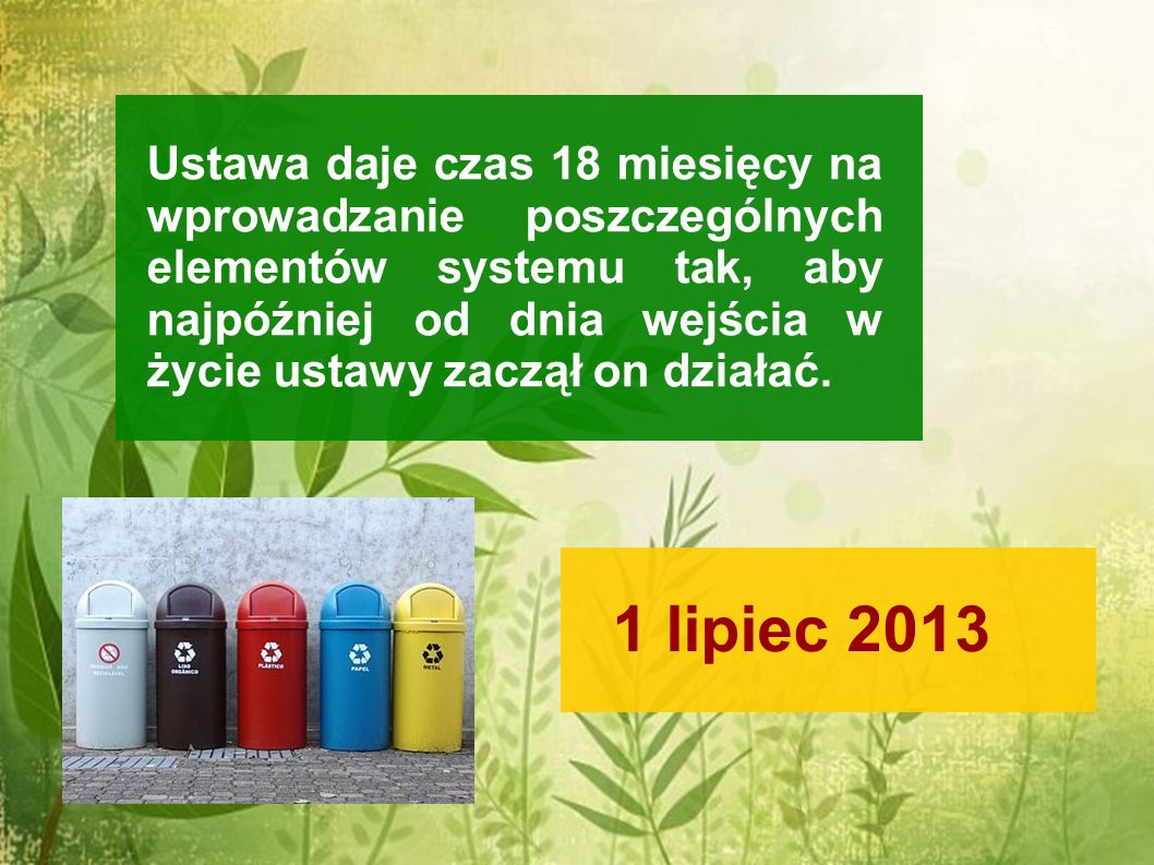 Ustawa daje czas 18 miesięcy na wprowadzanie poszczególnych elementów systemu tak, aby najpóźniej od dnia wejścia w życie ustawy zaczął on działać. 1