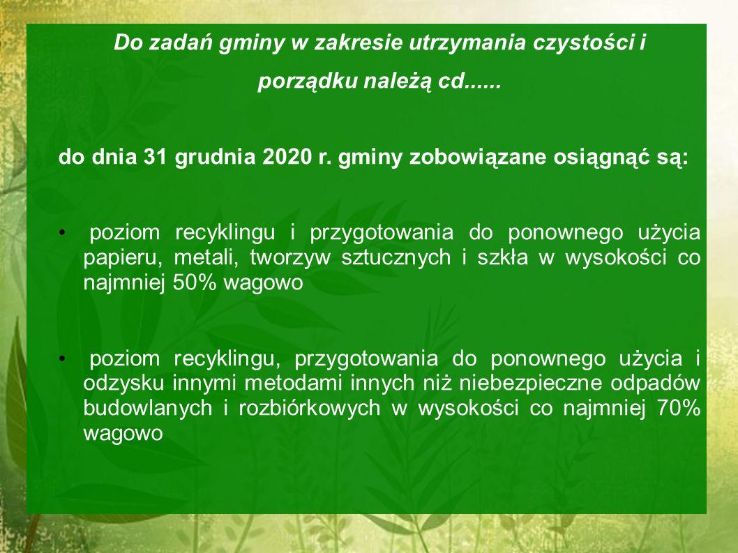 Do zadań gminy w zakresie utrzymania czystości i porządku należą cd...... do dnia 31 grudnia 2020 r. gminy zobowiązane osiągnąć są: poziom recyklingu