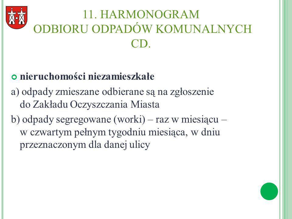 11. HARMONOGRAM ODBIORU ODPADÓW KOMUNALNYCH CD. nieruchomości niezamieszkałe a) odpady zmieszane odbierane są na zgłoszenie do Zakładu Oczyszczania Mi