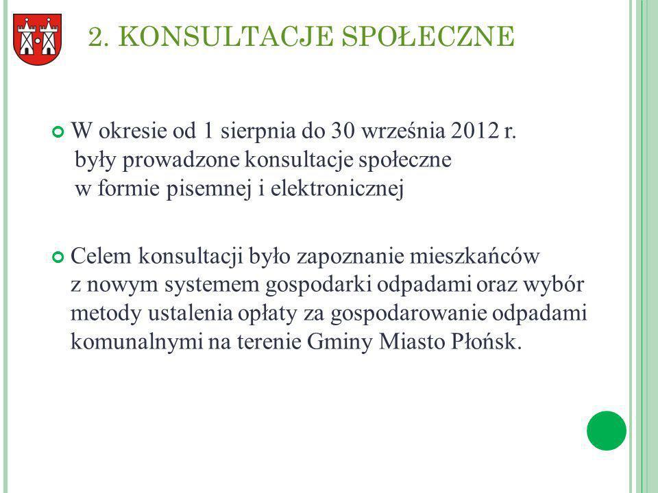2. KONSULTACJE SPOŁECZNE W okresie od 1 sierpnia do 30 września 2012 r. były prowadzone konsultacje społeczne w formie pisemnej i elektronicznej Celem