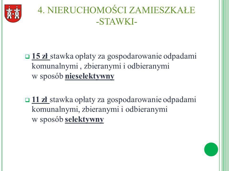 4. NIERUCHOMOŚCI ZAMIESZKAŁE -STAWKI- 15 zł stawka opłaty za gospodarowanie odpadami komunalnymi, zbieranymi i odbieranymi w sposób nieselektywny 11 z