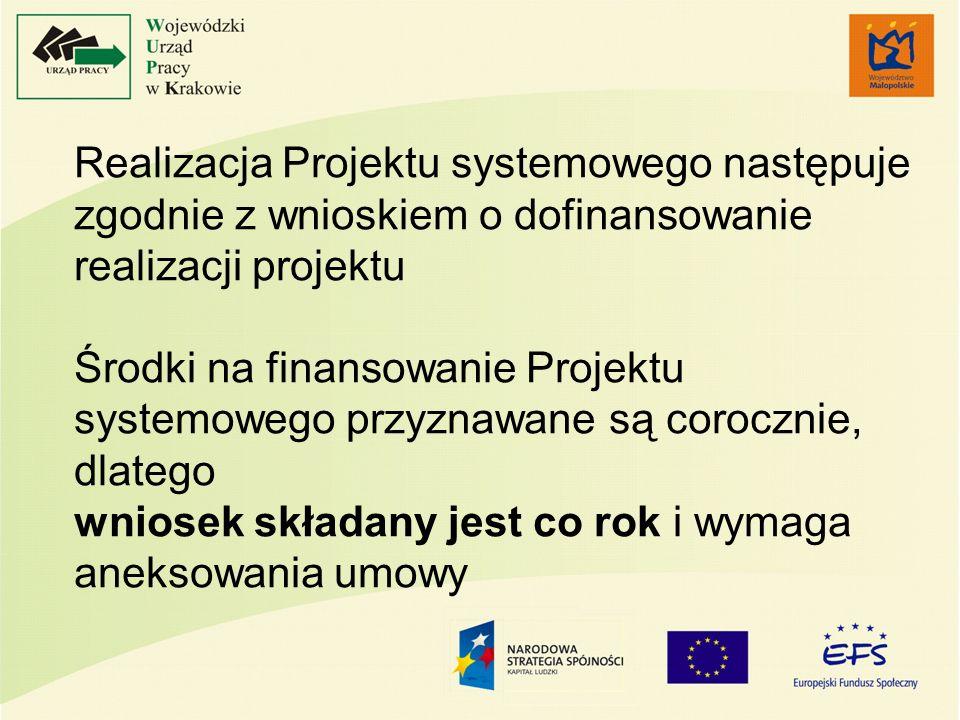 Realizacja Projektu systemowego następuje zgodnie z wnioskiem o dofinansowanie realizacji projektu Środki na finansowanie Projektu systemowego przyzna