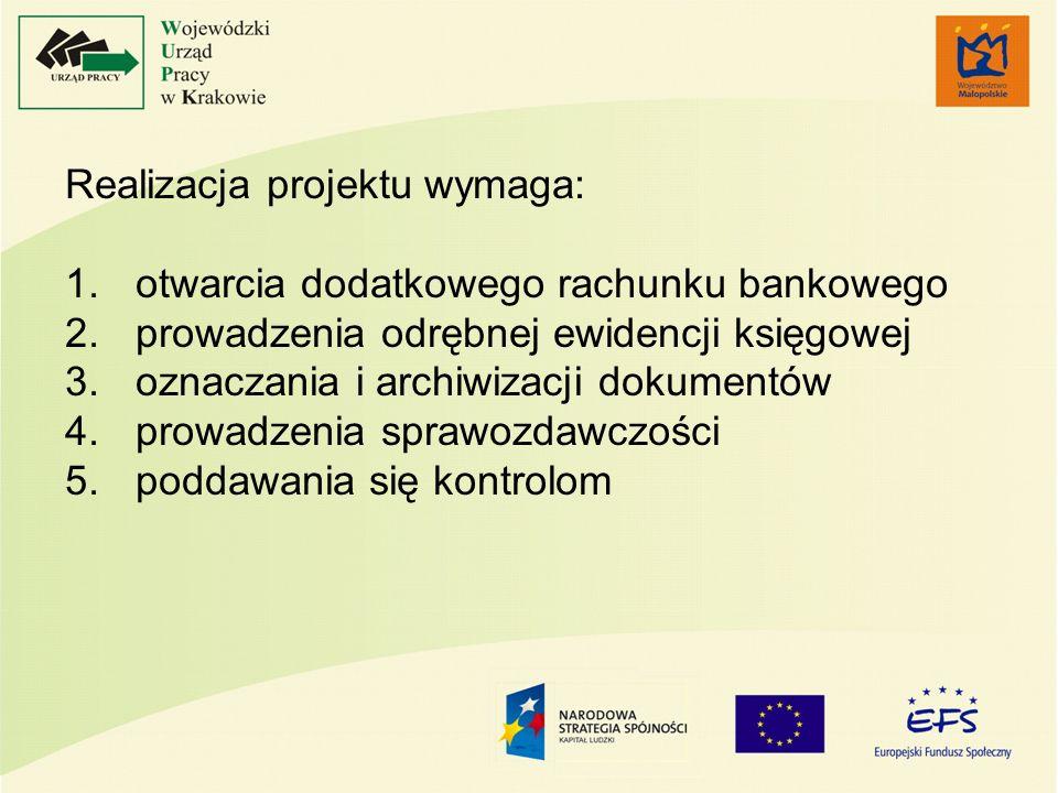 Realizacja projektu wymaga: 1.otwarcia dodatkowego rachunku bankowego 2.prowadzenia odrębnej ewidencji księgowej 3.oznaczania i archiwizacji dokumentó